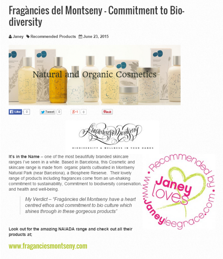 Janey Lee Grace recommends Fragàncies del Montseny brand